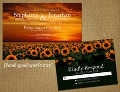 Sunflower Wedding InvitationField of by PenelopesPaperPantry