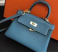 2018 Hermes Clemence Leather Kelly 20cm Mini Bag Denim blue