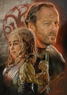 Game Of Thrones - Ser Jorah Mormont and Daenerys Targaryen aka Khaleesi. The reference photos are owned by HBO. Pleez don't sue.