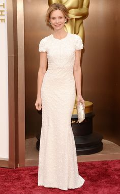 For TV, solid colors always look better with texture. Calista Flockhart from 2014 Oscars Red Carpet Arrivals | E! Online