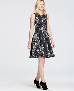 Primary Image of Floral Garland Flare Dress