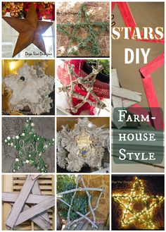 5 Farmhouse Style DIY Stars for your Holiday Decor, created by Tammy of Deja Vue Designs, plus pictures of her smaller star ornaments too!