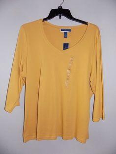 NEW womens plus size 2X top 3/4 sleeve mustard/saffron gold Karen Scott #KarenScott #Blouse