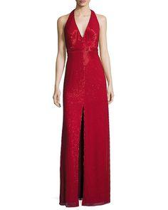 TCY5V Aidan Mattox Sleeveless Beaded Column Gown, Red