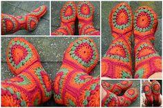 Hexagon Crochet Boots FREE Pattern
