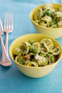 fava bean & pine nut pasta w/ pesto