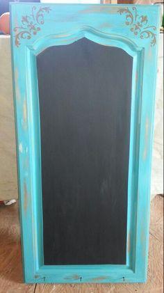 Turquoise chalkboard & key holder repurposed cabinet door $45