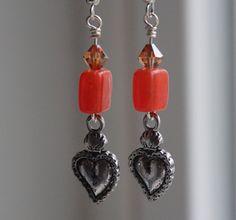 Sacred heart earrings on Etsy, $18.00