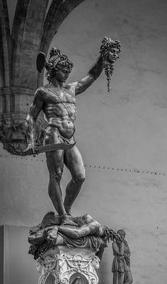 Perseus by Benvenuto Cellini, Loggia dei Lanzi, Florence, Italy. Held aloft in his hand is the head of slain Medusa. Ancient Greek Sculpture, Greek Statues, Ancient Art, Roman Sculpture, Art Sculpture, Bronze Sculpture, Greek Mythology Tattoos, Greek Mythology Art, Statue Tattoo
