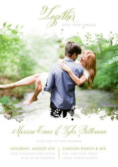 Pick the perfect engagement photo to share on your wedding invitation, and…