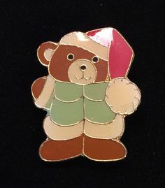 Vintage Enamel Teddybear Christmas Holiday Brooch Gift Collectible | eBay