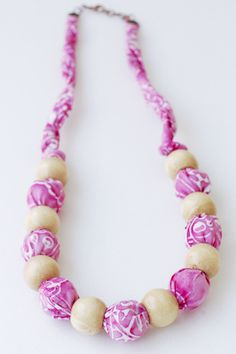 Bubbly Pink Necklace Batik Indonesia  www.prnik.com