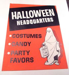 Vintage Large Halloween Store Decoration or Sign For Costumes Candy Party Favors with Child in Ghost Costume
