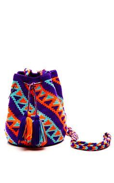 One-Of-A-Kind Handmade Wayu Mini Mochila by Muzungu Sisters - Moda Operandi woven cotton, columbia Tapestry Bag, Tapestry Crochet, Knit Crochet, Cotton Bag, Woven Cotton, Boho Bags, Cute Bags, Knitted Bags, Small Bags