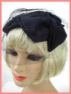 1950s Vintage Black Satin Veiled Cocktail Hat  (http://www.bluevelvetvintage.com/1950s-Vintage-Black-Satin-Veiled-Cocktail-Hat.html#)
