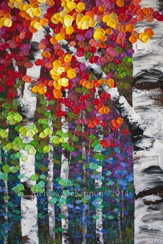 "NEW Painting! ""Kaleidoscope Trees"" 48″x36″ Colourful Acrylic Aspen ..."
