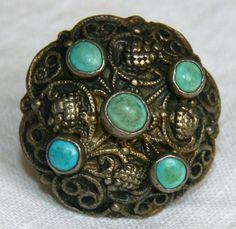 Antique Austro Hungarian Silver Uniform Button w Turquoises 1850'S | eBay