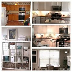 Kitchen redo: painted cabinets, thrifted decor, upcycled treasures, furniture DIY projects, and more...
