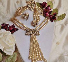 Vtg Original By Robert - Miriam Haskell Necklace Bracelet Ear Rhinestone Pearl