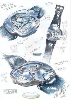 Urwerk UR-110 PT: sketches from Martin Frei