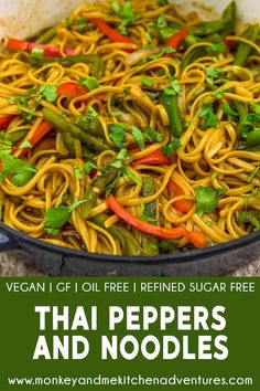Clean Eating Recipes For Dinner, Healthy Dinner Recipes, Whole Food Recipes, Vegetarian Recipes, Diet Recipes, Thai Peppers, Vegan Party Food, Vegan Pasta, How To Cook Pasta
