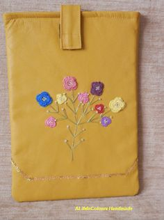item no208 Handcrafted ocher colour tablet case by ALIFEINCOLOURS, $55.00