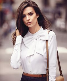 02-Em Ratajkowski by Will Davidson for Harpers Bazaar September 2015-This Is Glamorous. Gorgeous blouse for work.
