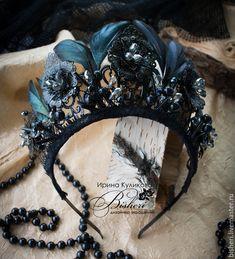 """Купить Корона """"Готика"""" - черный, перья, корона, готика, черная принцесса, магия, бишери"""
