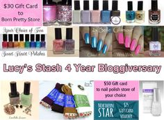Giveaway!!! http://lucysstash.com/2014/02/4-year-bloggiversary-giveaway-with-15-winners.html#comments
