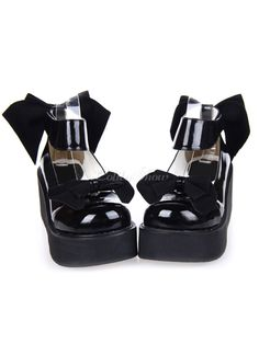 "Sweet Black Bow Laced PU Leather High( 3-3.9"") Round Toe Lolita Shoes - Lolitashow.com"
