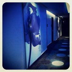 A blue hallway in Holiday Inn Express Bangkok.  By Instagram user travelwithawan