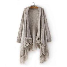 7220e56da45 Irregular fashion shawl sweater knit cardigan Fringe Cardigan
