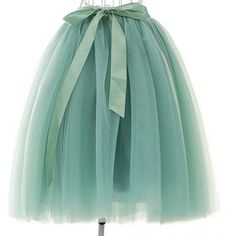 Women's High Waist Princess A Line Midi/ Knee Length Tulle Skirt... ($25) ❤ liked on Polyvore featuring skirts, high-waisted skirt, high-waisted midi skirts, green pleated skirt, high waisted pleated skirt and green tulle skirt