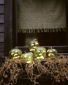 Halloween with lighted gourds.