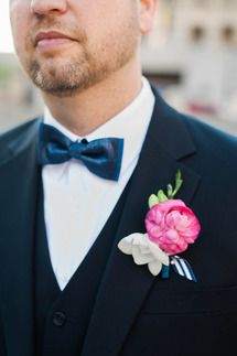 Brocade Designs: Floral & Event Design // Boutonniere - white, pink, raspberry, navy blue & pops of green wedding #brocadedesigns #pinkboutonniere www.brocadenashville.com