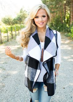 So Intrigued By You Plaid Vest Black/White - Modern Vintage Boutique