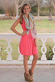 Perfect Pocket Tank Dress,Coral