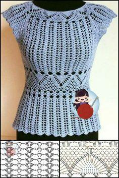 Crochet Chart, Free Crochet, Crochet Top, Crochet Cardigan Pattern, Crochet Patterns, Crotchet Stitches, Crochet Beach Dress, Crochet Clothes, Crochet Sweaters