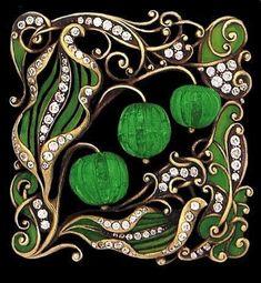 Art Nouveau carved emerald, enamel and diamond-set brooch. Absolutely Beautiful! #DiamondBrooches #GoldJewelleryArtNouveau
