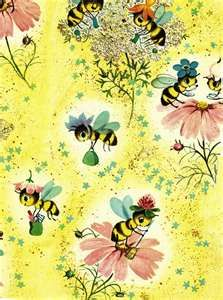 Vintage Bees Daisies Wallpaper