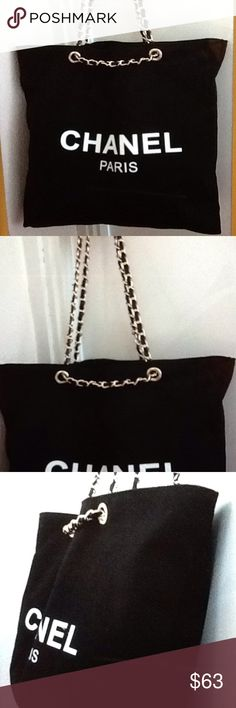 Chanel gift canvas travel reusable tote VIP new Authentic Chanel VIP large gift tote shoulder bag. 17 W x 14 H x 3 D in inches.  Brand new.  Black in durable canvas. CHANEL Bags Totes