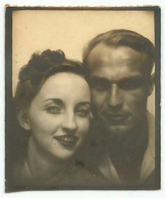 PRETTY LADY WITH MAN PHOTOBOOTH OLD VINTAGE PHOTO/SNAPSHOT-G2593 | eBay