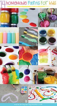 14 Homemade Paints for Kids at artsyfartsymama.com #kidscrafts #recipes