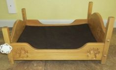 DOG BED with MATTRESS and Engraved Paw Print Amish Handmade Oak Wood Small Pet