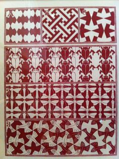 Graphic design by Dutch artist Escher, showing different patterns based on mathematic principles, such as symmetry, mirroring and repetition. Seen at the exhibition 'Escher meets islamic art' at the Tropenmuseum in Amsterdam.