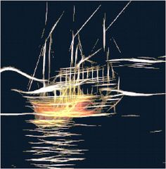 Night Ship Fractal Cross Stitch Printable Needlework Pattern - DIY Crossstitch Chart, Relaxing Hobby, Instant Download PDF Design by KustomCrossStitch  https://www.etsy.com/listing/549323773/night-ship-fractal-cross-stitch?ref=rss