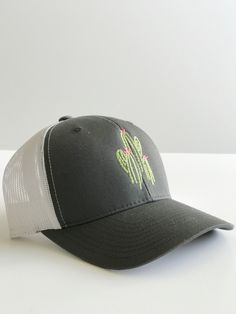 114fc44a9266bc Charcoal Gray Cactus trucker white mesh curved brim snap back hat