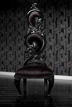 Black Velvet Baroque High Back Chair  Amazing chair.  Imagine these around a long black dinning table.