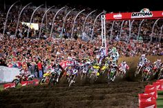 The world's top Supercross riders such as James Stewart, Chad Reed, Ryan Villopoto and Ryan Dungey battle on a course designed by 5x winner Ricky Carmichael during the DAYTONA Supercross By Honda.