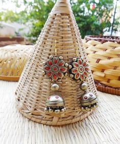 Antique Red & Gold Terracotta Jhumka By Nakshatra Handcrafted Jewelry, Handmade Jewellery, Teracotta Jewellery, Terracotta Jewellery Designs, Terracotta Earrings, Funky Jewelry, India Jewelry, Clay Earrings, Red Gold